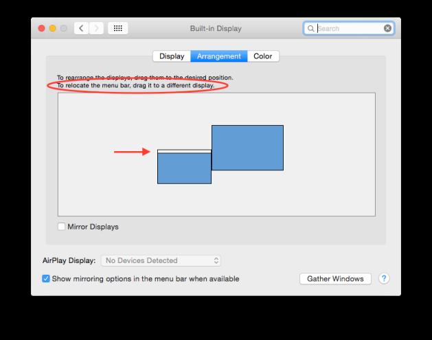 The built-in display settings.