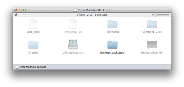 Time Machine Backups volume.