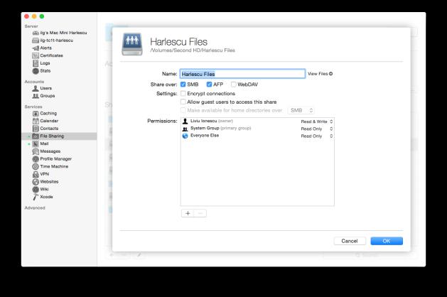 File sharing configuration.